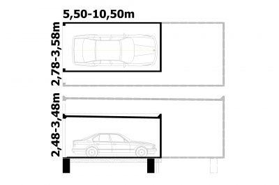 Grundriss und Schnitt Großraumgarage